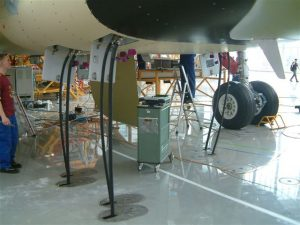 Connection of hangar hydraulics to aircraft part of an aircraft assembly line